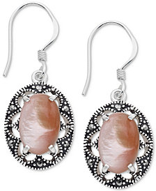 Marcasite & Pink Shell Oval Filigree Drop Earrings in Fine Silver-Plate