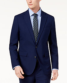 Cole Haan Men's Grand.OS Wearable Technology Slim-Fit Stretch Modern Blue Solid Suit Jacket