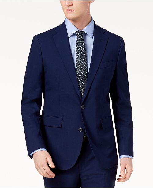Cole Haan Men's Grand.OS Wearable Technology Slim-Fit Stretch Solid Suit Jacket