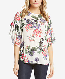 Karen Kane Printed Ruffled-Sleeve Top