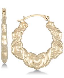 Hugs & Kisses Hoop Earrings in 10k Gold