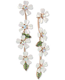 Betsey Johnson Gold-Tone Crystal Flower Linear Drop Earrings