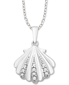 "Diamond Seashell 18"" Pendant Necklace (1/10 ct. t.w.) in Sterling Silver"
