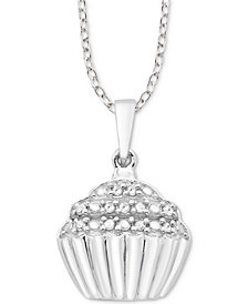 "Diamond Cupcake 18"" Pendant Necklace (1/10 ct. t.w.) in Sterling Silver"