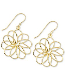 Medium Openwork Flower Drop Earrings in Gold-Plate