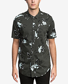 RVCA Men's Moonflower Floral-Print Pocket Shirt