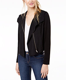 Bar III Knit Moto Jacket, Created for Macy's