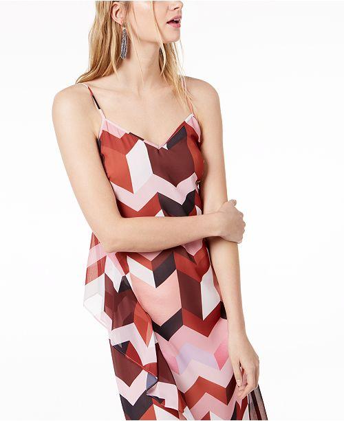 for Geometric III Bar Slip Created Print Layered Red Italia Macy's Dress 70P4q5