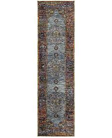 """Macy's Fine Rug Gallery Journey  Ardebil Blue 2'3"""" x 8' Runner Rug"""