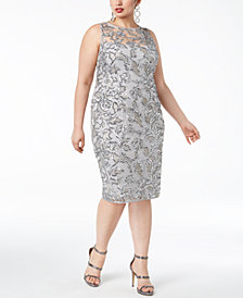 Adrianna Papell Plus Size Sequined Sheath Dress