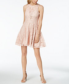 XSCAPE Petite Sleeveless Fit & Flare Lace Dress