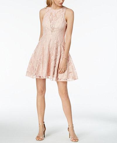 XSCAPE Lace Illusion Fit & Flare Dress