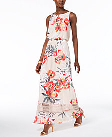 Adrianna Papell Floral-Print Keyhole Maxi Dress