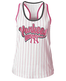 5th & Ocean New York Yankees Pink Pinstripe Tank Top, Girls (4-16)
