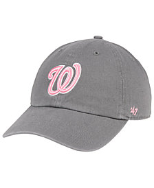 '47 Brand Washington Nationals Dark Gray Pink CLEAN UP Cap
