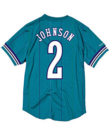 Mitchell & Ness Men's Larry Johnson Charlotte Hornets Name and Number Mesh Crewneck Jersey