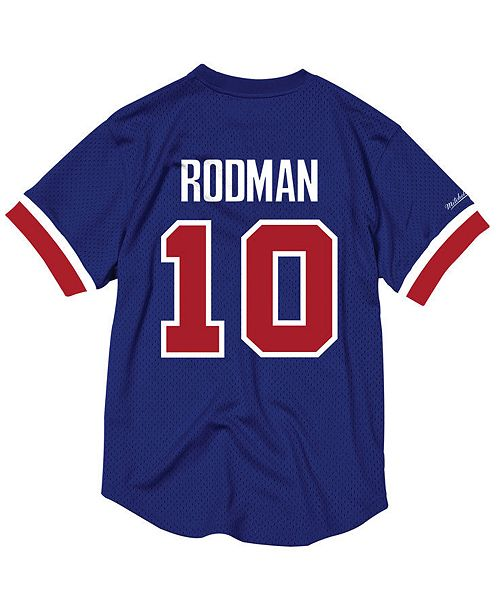 f764f659b7b Mitchell   Ness Men s Dennis Rodman Detroit Pistons Name and Number Mesh  Crewneck ...