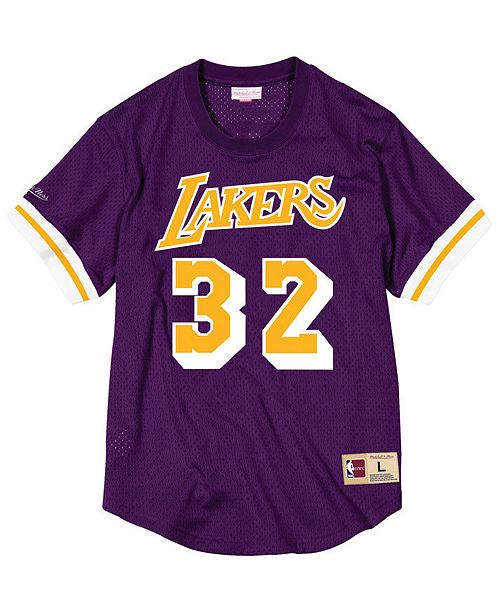 4abc1a0d5 ... italy mitchell ness mens magic johnson los angeles lakers name and  number mesh crewneck jersey sports
