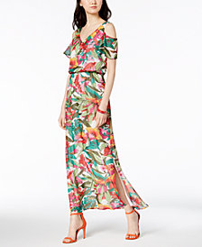 Nine West Floral Printed Cold-Shoulder Maxi Dress