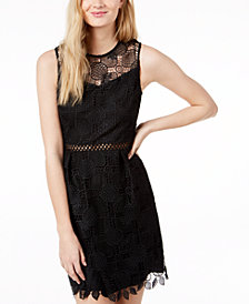 Maison Jules Pineapple-Pattern Lace Fit & Flare Dress, Created for Macy's