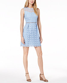 Maison Jules Star-Pattern Lace Fit & Flare Dress, Created for Macy's