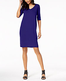 Eileen Fisher Stretch Jersey V-Neck Shift Dress, Regular & Petite