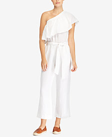 Lauren Ralph Lauren Ruffled-Overlay One-Shoulder Linen Jumpsuit