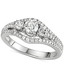 Diamond 3-Stone Engagement Ring (1 ct. t.w.) in 14k White Gold