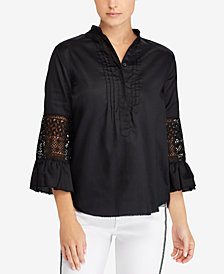 Lauren Ralph Lauren Lace Bell-Sleeve Cotton Top