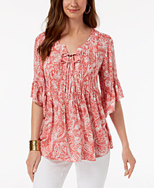 Style & Co Paisley Pintuck Peasant Top, Created for Macy's