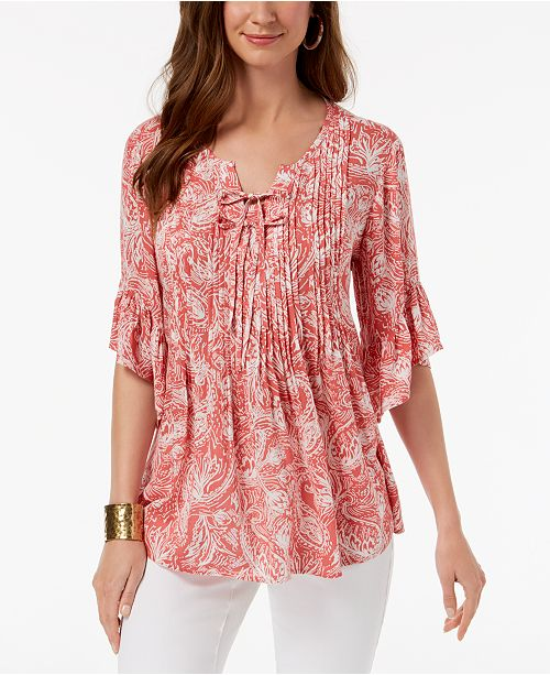 6305dc14798592 ... Style   Co Paisley Pintuck Peasant Top
