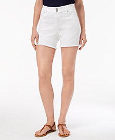 Style & Co Petite Frayed-Hem Double-Button Shorts, Created for Macy's