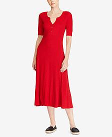 Lauren Ralph Lauren Waffle-Knit Henley Dress