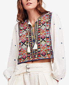 Free People Enter Loveland Cotton Cropped Peasant Top
