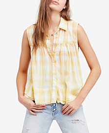 Free People Plaid Blouse