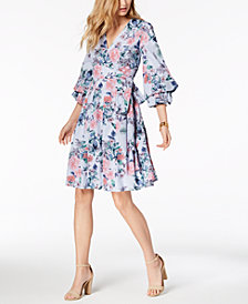 Ivanka Trump Floral-Print Cotton Wrap Dress