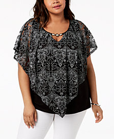 NY Collection Plus Size Embellished Poncho Top
