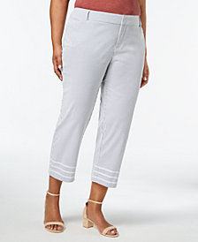 Charter Club Plus Size Striped Cropped Seersucker Pants, Created for Macy's