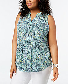 Charter Club Plus Size Pleated Print Blouse, Created for Macy's