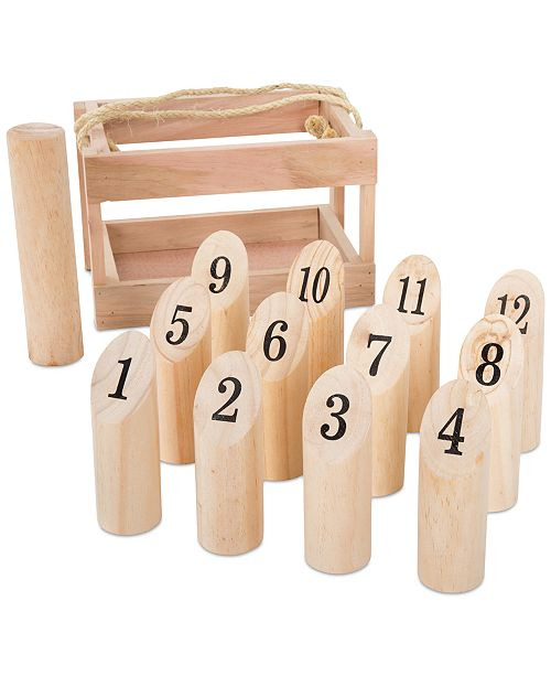 """Trademark Global Natural Wooden Throwing Game-Complete Set, 12 Numbered Pins, Throwing Dowel, Carrying Crate-Outdoor Lawn Games For Adults and Kids by Hey! Play!, 7.1"""" x 11.1"""" x 7.25"""""""