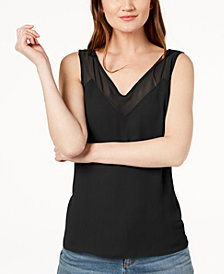 I.N.C. Contrast Sheer-Trim Top, Created for Macy's
