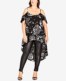 City Chic Trendy Plus Size High-Low Top
