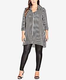 Trendy Plus Size Striped Tunic Shirt