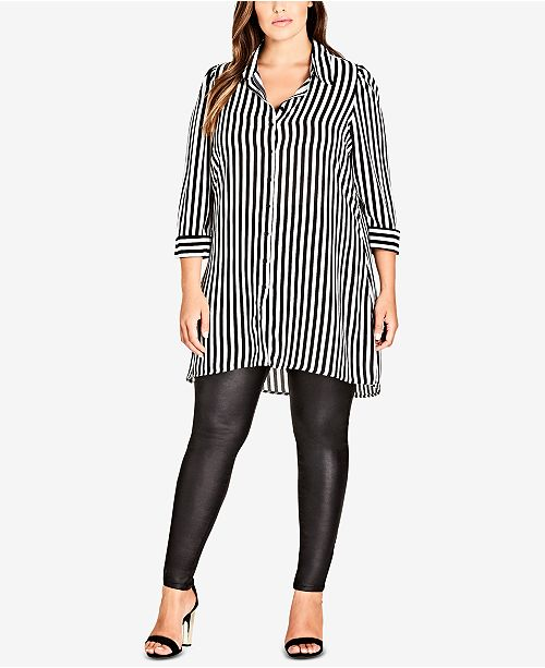 cheap sale offer entire collection Trendy Plus Size Striped Tunic Shirt