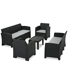 Madison 5-Pc. Outdoor Chat Set (2 Sofas, 2 Club Chairs & 1 Coffee Table), Quick Ship