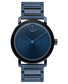 Movado Men's Swiss BOLD Evolution Blue Stainless Steel Bracelet Watch 40mm