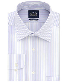 Eagle Men's Classic/Regular Fit Non-Iron Flex Collar Performance Gray & Pink Stripe Dress Shirt