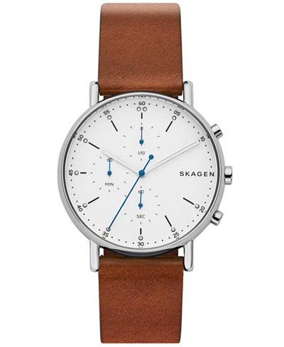 Skagen Men's Chronograph Signatur Brown Leather Strap Watch 40mm