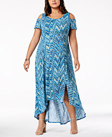 NY Collection Petite Plus Size Cold-Shoulder Dress