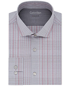 Calvin Klein X Men's Extra-Slim Fit Non-Iron Thermal Stretch Performance Red Check Dress Shirt